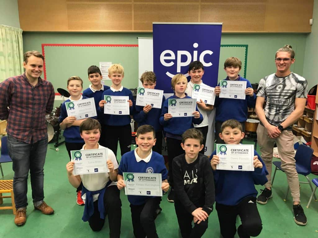 Attendees of the Lothians Boys Project Tranent pose with their certificates of attendance
