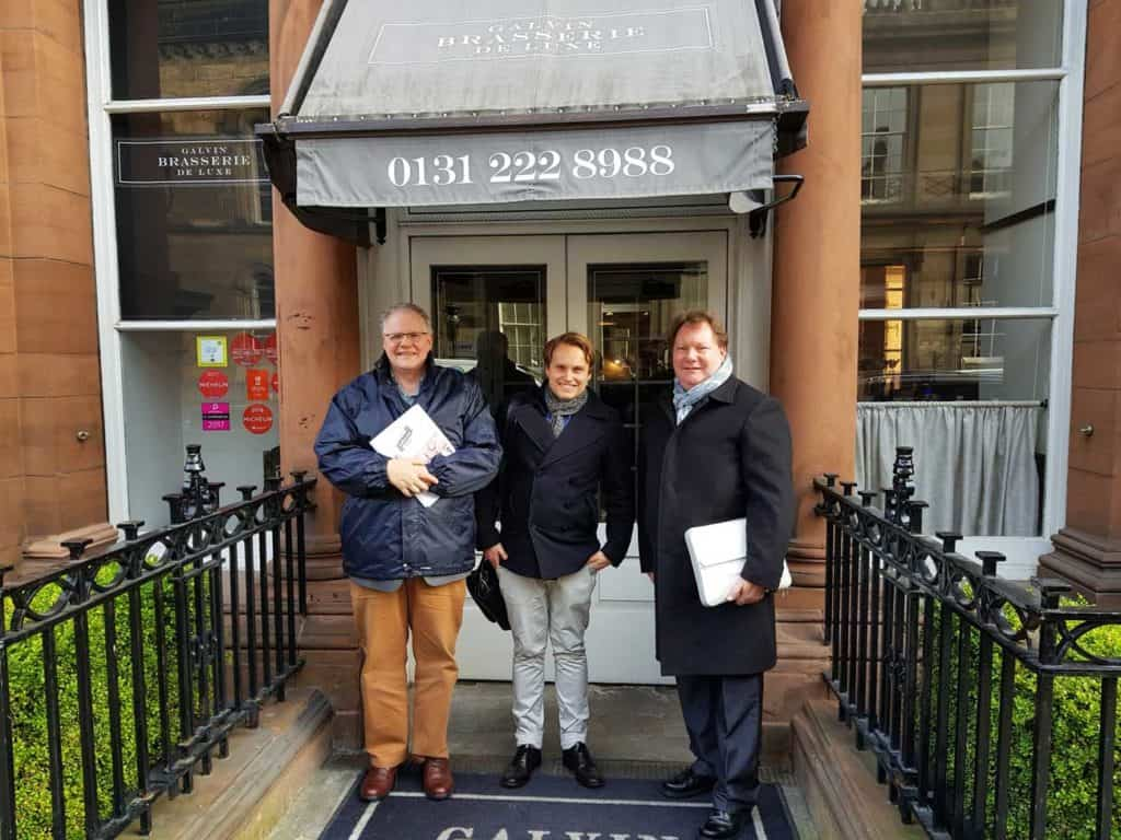 Br. Donald Campbell, Chairman of EPIC Assist Charity and Keith Martin, Executive Director EPIC Assist Charity welcoming EPIC Assist Charity's new employee in Scotland, Simen Jordsmyr Holm, while standing outside of the EPIC Scotland office