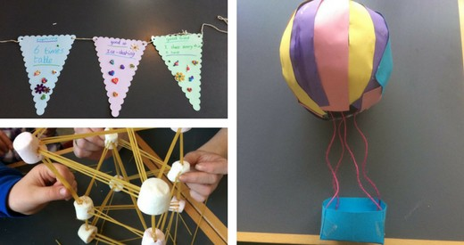 A collage of images of projects undertaken through the EGP- from left, homemade bunting, a structure made from marshmallows and pasta, and a paper mache hot air balloon
