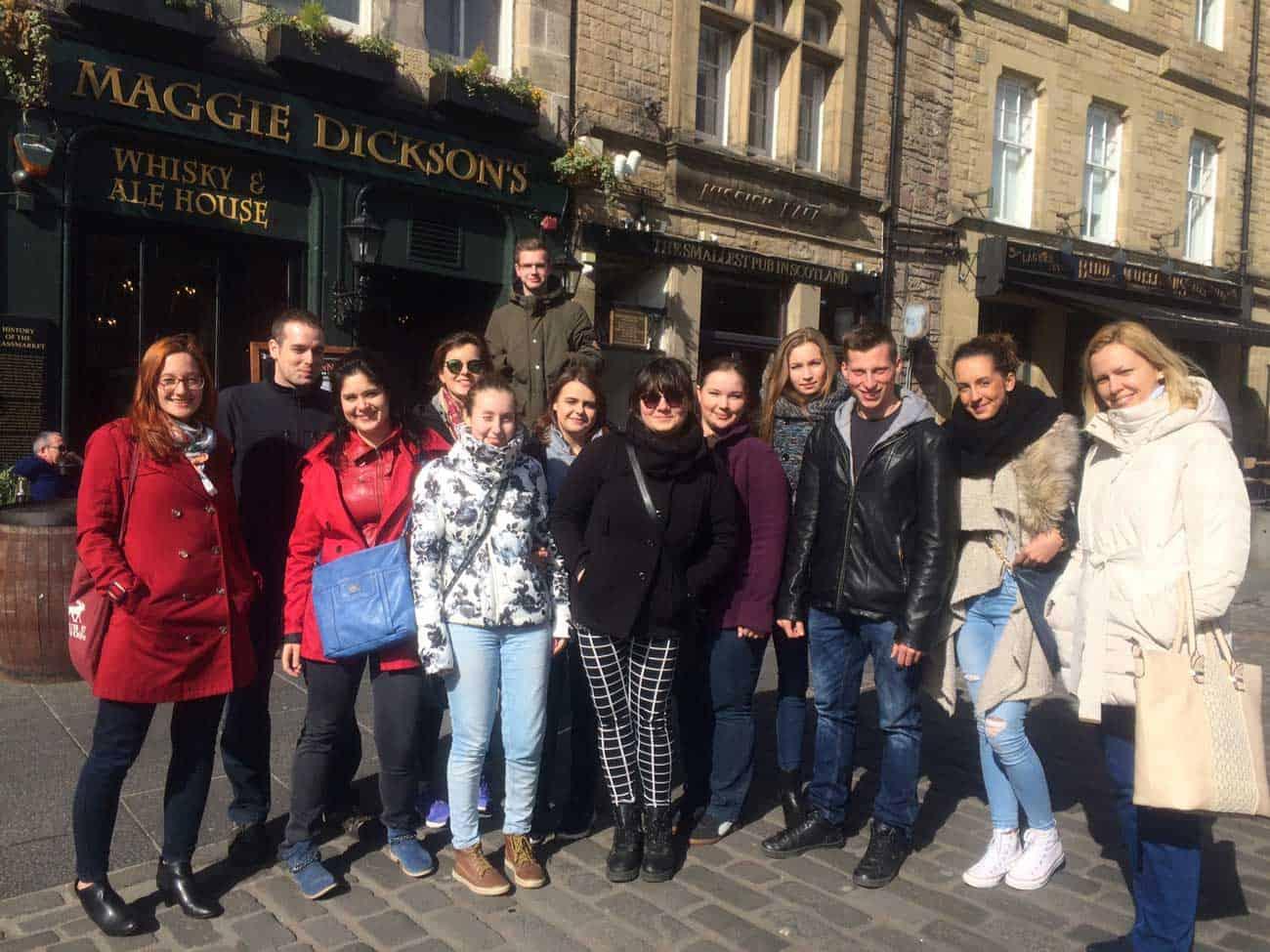 Comenius University students stand on the street in Edinburgh