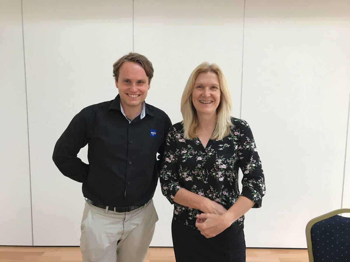 EPIC's Simen with Helen Davis from West Lothian Youth Action Project