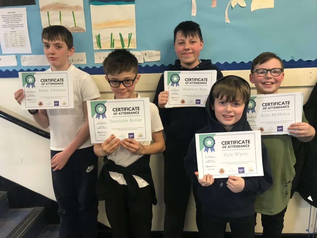 Mayfield Boys Project posing with their certificates