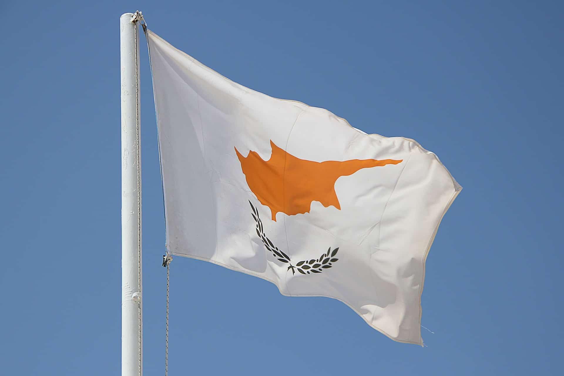 The Cyprus flag on a flag pole